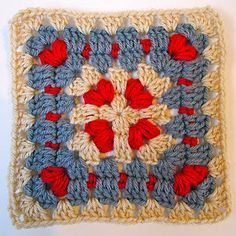 Signed With an Owl: Alyss Heart Block (Cornered Hearts square by Elizabeth Ham). Links to pattern. Crochet Blocks, Granny Square Crochet Pattern, Crochet Squares, Crochet Granny, Crochet Motif, Crochet Stitches, Knit Crochet, Crochet Patterns, Granny Squares
