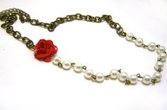 Red Rose and Ivory Glass Pearl Beaded Antiqued by CYDesignStudio