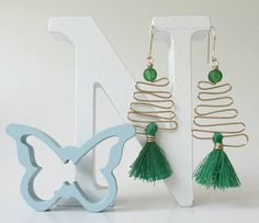 Tassel Earrings Brass Wire Earrings Green Earrings Tassel Earrings Handmade, Handmade Jewelry, Unique Jewelry, Handmade Gifts, Tribal Earrings, Green Earrings, Tassel Jewelry, Tassel Earrings, Gold Wire