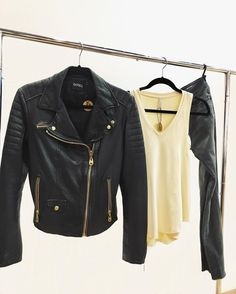 These are a few of our favorite things    #MyBottega #shopsatshilohcrossing #ootd #fashion #style #chic #denim #simple #ootn #leather #jacket