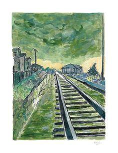 Train Track Green bob dylan art works