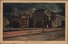 Stara razglednica Zagreba s motivom Kraljevske sveučilišne knjižnice na Marulićevom trgu iz fonda Grafičke zbirke NSK s početka 20. stoljeća.