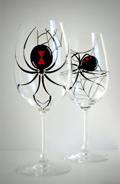 Black Widow Spider Wine Glasses. Hand Painted. Available from MaryElizabethArts.com