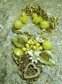 Vintage Collage Necklace Yellow 48.00