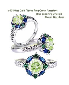14K White Gold Plated Ring Green Amethyst Blue Sapphire Emerald Round Gemstone Size 6 7 8 9 10 11 12 13. Starting at $1