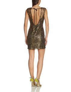 Für Valentinstag! Lipsy Damen Cocktail Kleid GOLD BLK LACE SHIFT (hinten) Von Lipsy Preis:EUR 49,28 - EUR 92,57