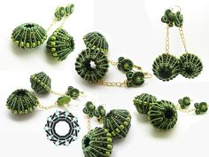 A different kind of soutache / Soutache inaczej - Tender December Textile Jewelry, Beaded Jewelry, Handmade Jewelry, Unique Jewelry, Soutache Earrings, Crochet Earrings, Creative Textiles, Beaded Embroidery, Fabric Flowers