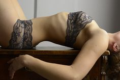 Lingerie Set Woman in Grey  // Bustier and Panty handmade out grey red and black french lace on Etsy, $91.30
