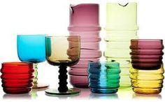 I Love colored glass! Marimekko/Anu Penttinen tablewear at Crate & Barrel