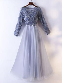 May 2020 - Chic / Beautiful Grey Evening Dresses 2017 A-Line / Princess Lace Flower Appliques Bow Pearl Scoop Neck Backless Long Sleeve Ankle Length Formal Dresses Grey Evening Dresses, Long Sleeve Evening Dresses, Prom Dresses Long With Sleeves, A Line Prom Dresses, Beautiful Prom Dresses, Nice Dresses, Short Dresses, Formal Dresses, Hijab Prom Dress