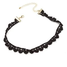 Throwback Mood Scallop Crochet Choker BLACK ($4.90) ❤ liked on Polyvore featuring jewelry, necklaces, black, macrame necklace, chain necklaces, chain choker, crochet chain necklace and artificial jewellery