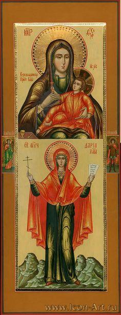 Святая мц. Дария Римская и Образ Пресвятой Богородицы «Козельщанская». На полях иконы: святой Ангел Хранитель, святой Георгий Победоносец. — фотография