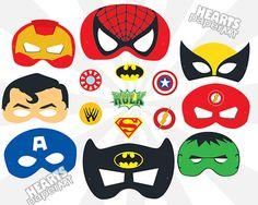 Printable Superhero Masks kit inc. Spiderman, Superman, Wolverine, Batman, The Hulk, Iron Man, Captian America & More  Also includes Action