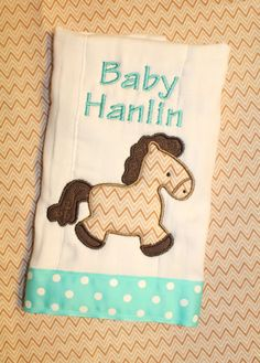 Chevron Horse Burp Cloth  Personalized w/ by SweetandSimpleStitch