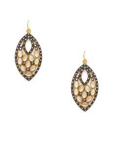 Semi-Precious Stone & CZ Teardrop Earrings by Kevia
