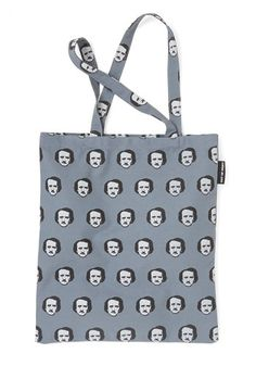 Edgar Allan Stow Tote by Out of Print - Grey, Urban, Scholastic/Collegiate, Nifty Nerd, Woven, Novelty Print, Quirky, Fall