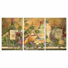 """Hand-finished wine and cheese-themed wall decor.   Product: 3-Piece wall decor setConstruction Material: Engineered woodFeatures:  Hand-finishedReady to hangMade in the USA Dimensions: 17"""" H x 33"""" W x 0.5"""" D (overall)"""