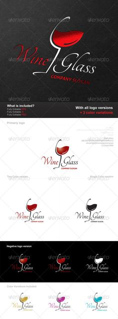 Wine Glass Logo - PSD Logo Template • Only available here ➝ http://graphicriver.net/item/wine-glass-logo/2825948?ref=pxcr