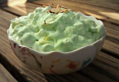 Watergate Salad, less than 200 calories, tastes like pistachio icecream!   1/4 cup sliced almonds,   2 cups sugar free cool whip, 3/4 Cup fresh pineapples,1/3 Cup sugar free fat free pistachio almond pudding mix, 2 Cups Mini Marshmallows