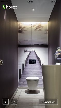 No tiles in the guest bathroom. The small room gets a great depth effect. # Guest toilet - ALL ABOUT Small Toilet Room, Guest Toilet, Downstairs Toilet, Downstairs Cloakroom, Powder Room Decor, Powder Room Design, Powder Rooms, Bathroom Interior, Modern Bathroom