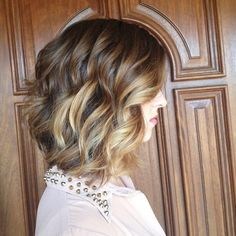 Long brunette a-line bob with balayage highlights and pretty loose curls. at Mecca Salon This is my hair dream! Cute Bob Hairstyles, Long Bob Haircuts, Hairstyle Ideas, Hair Ideas, Brown Hairstyles, Lob Hairstyle, Layered Hairstyles, Medium Hair Styles, Short Hair Styles