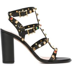 Valentino Garavani Rockstud Rolling Sandals ($1,445) ❤ liked on Polyvore featuring shoes, sandals, black, black ankle wrap sandals, black embellished sandals, ankle wrap sandals, open toe sandals and black leather shoes