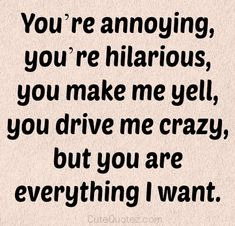 You're annoying, you're hilarious, you make me yell, you drive me crazy, but you are everything I want.