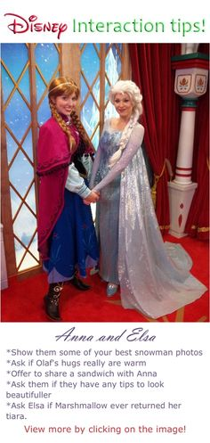 Disney World Characters Interaction Tips and what to say to characters Anna and Elsa at he Magic Kingdom #disney #world #character #tips