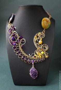 Fabric Jewelry, Metal Jewelry, Beaded Jewelry, Handmade Jewelry, Wire Crafts, Jewelry Crafts, Jewelry Art, Jewelry Design, Wire Necklace