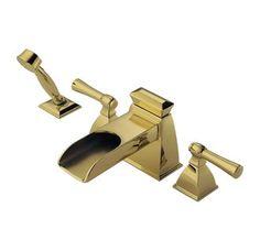 Brizo T67745 Vesi Channel Roman Tub Filler Faucet Trim Double Handle with Personal Hand Shower