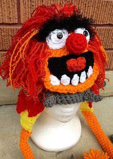 Ravelry: Muppets Crazy Drummer pattern by Heidi Yates.~Must make this for my drummer cousin Cathy! Crochet Kids Hats, Crochet Beanie, Crochet Animals, Crochet Crafts, Yarn Crafts, Knitted Hats, Knit Crochet, Crochet Birds, Crochet Food