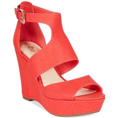Bar Iii Sophie Wedge Sandals, (3,250 PHP) ❤ liked on Polyvore featuring shoes, sandals, coral, coral wedge shoes, coral wedge sandals, wedge heel shoes, bar iii shoes and high wedge shoes