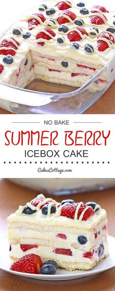 Bake Summer Berry Icebox Cake - Cakescottage Looking for a quick and easy Summer dessert recipe? Try out delicious No Bake Summer Berry Icebox Cake !Looking for a quick and easy Summer dessert recipe? Try out delicious No Bake Summer Berry Icebox Cake ! Easy Summer Desserts, Summer Dessert Recipes, Recipes Dinner, Easy Delicious Desserts, Easy Summer Dinners, Food For Summer, Dessert Healthy, Easy Dinner Party Desserts, Summer Treats
