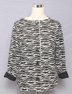 Liz Claiborne Size PL Zebra Print Cotton Knit Cardigan 639 T315  | eBay