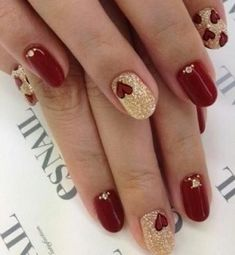 Valentines day unhas vermelhas e douradas, unhas decoradas vermelha, unhas coloridas, cores de Red Nail Art, Red Nails, Love Nails, How To Do Nails, Pretty Nails, Burgundy Nails, Red And Gold Nails, Golden Nails, Maroon Nails