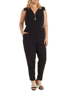 Plus Size Abstract Cap Sleeve Jumpsuit: Charlotte Russe