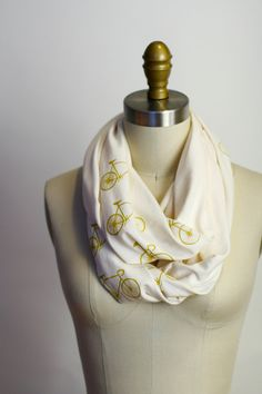 Bikes Organic Circle Scarf  Screenprinted  Off by shoprarebird, $36.00