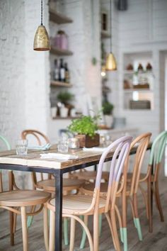Hally's Parsons Green, communal tables with pastel colored dip dyed bentwood chairs Dining Room House Design, Cafe Interior, Interior, Interior Inspiration, Dining, Bentwood Chairs, House Interior, Painted Chairs, Home Kitchens