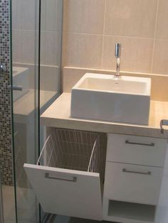 If you have a small bathroom in your home, don't be confuse to change to make it look larger. Not only small bathroom, but also the largest bathrooms have their problems and design flaws. Wood Bathroom, Bathroom Shelves, Bathroom Flooring, Bathroom Storage, Small Bathroom, Bathroom Ideas, Kitchen Storage, Bathroom Layout, Kitchen Shelves