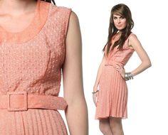 70s metallic peach pleated belted sleeveless dress