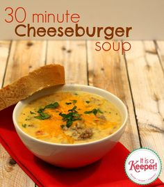 Dinner tonight was 30 Minute Cheeseburger Soup from It's a Keeper. Notes: added more carrots and onions, no celery, added celery salt. Also, cooked the milk in the roux instead of adding it directly to the soup. Will be added to our routine for sure. Lchf, Crockpot Recipes, Cooking Recipes, Freezer Cooking, Cooking Tips, Easy Recipes, Cheese Burger Soup Recipes, Cheeseburger Soup, Soup And Sandwich