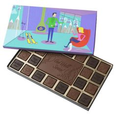 Retro Ski Vacation Box of Chocolates--#chocolate #getwell #skiing #snow #winter #retro #cartoon #midcenturymodern #Zazzle