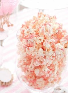 pink popcorn (melt white chocolate with pink food colouring and pour over popcorn)