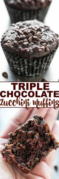Triple Chocolate Zucchini Muffins - NO dairy or butter and only cup oil in the entire batch! Promise you CANNOT taste the zucchini but it keeps the muffins so soft and moist! Love sneaking in ext(Triple Chocolate Muffins) Healthy Desserts, Just Desserts, Delicious Desserts, Dessert Recipes, Yummy Food, Milk Recipes, Easy Recipes, Yummy Treats, Sweet Treats