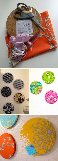 cork circles covered in fabric scraps as homemade bulletin boards--I like this idea better than cork board in frames...perhaps could combine both ideas for a couple?