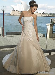 A-line Strapless Chapel Train Taffeta Wedding Dress with Beading and Embroidery