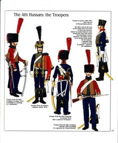 French; 4th Hussars, Troopers Lto R Elite Company 1812, Line Company 1810, Elite Company 1812, Elite Company 1805 & Line Company 1806-07