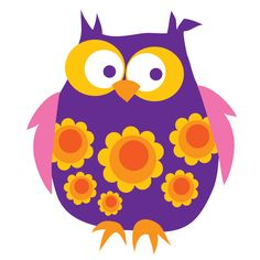 violet owl by Blafre Design Kitsch, Whimsical Owl, Wise Owl, Owl Art, Forest Animals, Cute Images, Wall Stickers, Flower Power, Embroidery Patterns