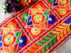 Your place to buy and sell all things handmade Cotton Silk Fabric, Red Fabric, Floral Fabric, Embellished Skirt, Indian Fabric, Fabric Patch, Hand Embroidery, Check Designs, Floral Design
