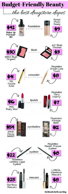 Are you looking for the best drugstore makeup dupes to help you save money on make up? Save money on foundation, lipstick, lip gloss and mascara with dupes. Diy Makeup Primer, Drugstore Makeup Dupes, Mac Dupes, Make Up Drugstore, Best Drugstore Concealer, Mac Lipstick Dupes, Eyeshadow Dupes, Sephora Makeup, Drugstore Makeup
